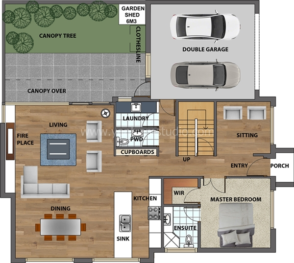 House Floor Plans In 2D Ground Floor With Garage