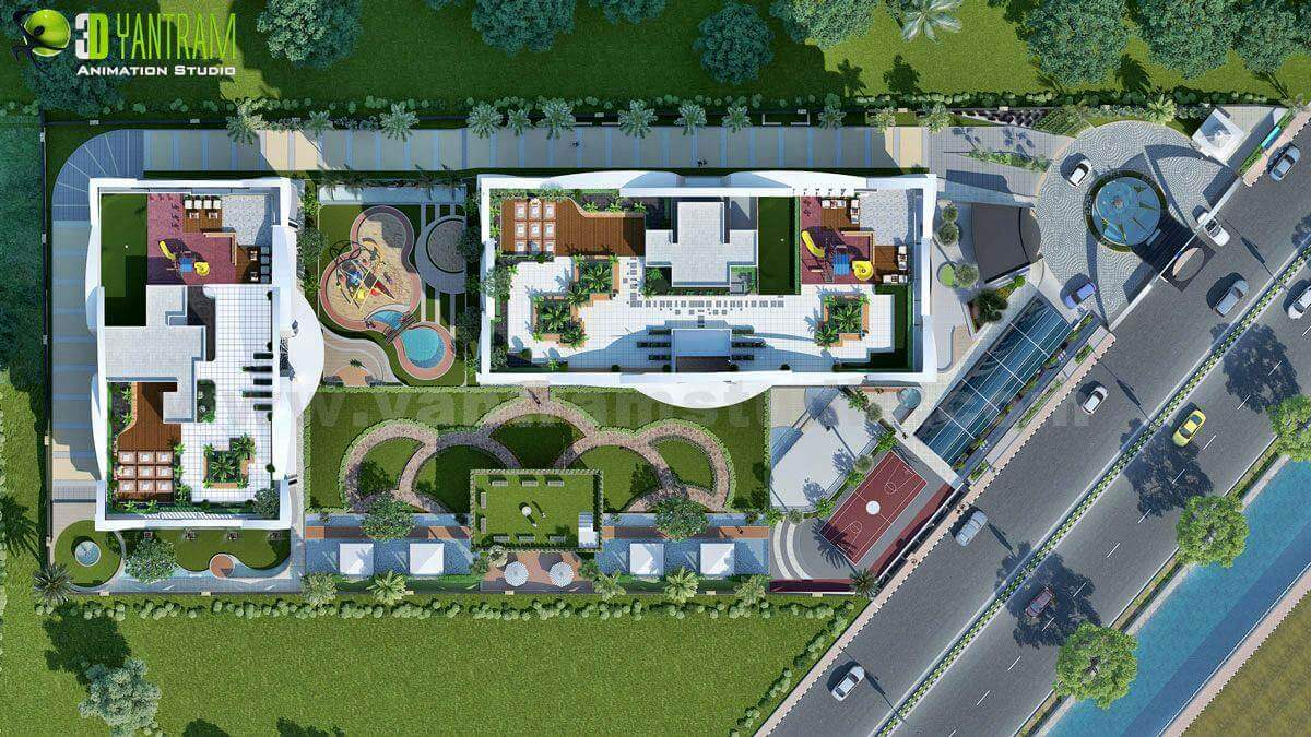 Get 3d architectural exterior rendering modeling and cgi for Site plan 3d
