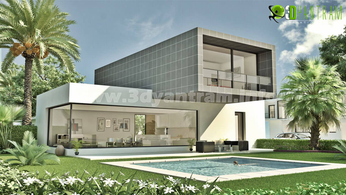 Exterior cgi design for residential modern bungalow for House and home exteriors