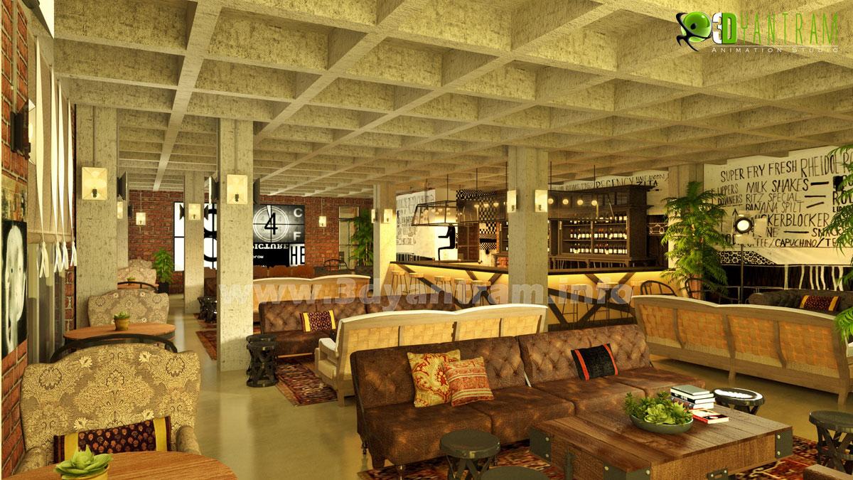 Commercial 3D Interior Design Classic Restaurant