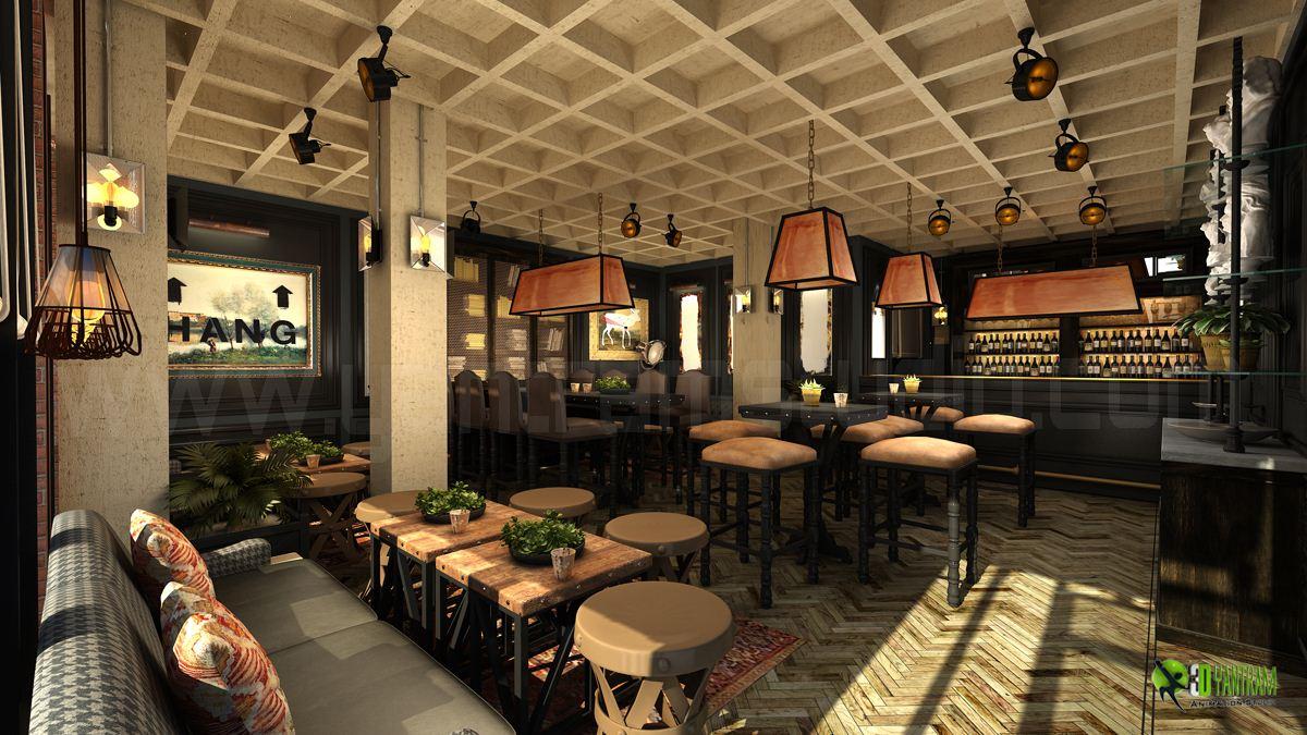 Commercial 3D Interior Bar Rendering