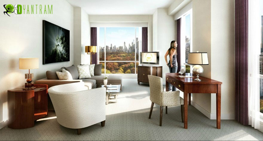 Day view Residential 3D Interior Rendering Livingroom