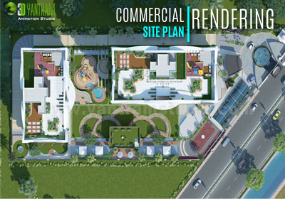 3D Exterior  Commercial Site Plan CGI Design