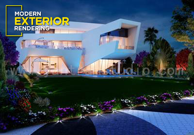 3D Residential Pool Side Exterior CGI Design
