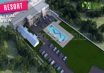 Aerial View of Resort Exterior Visualization