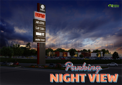 Nightview Exterior Design for Commercial Parking Area