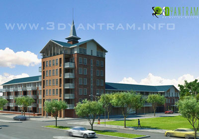 3D Commercial Exterior Architectural Visualization
