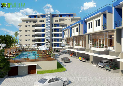 3D Exterior CGI Design of Residential Apartment