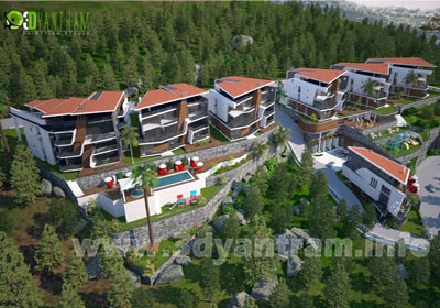 3D Exterior CGI Design of Residential Hill Side