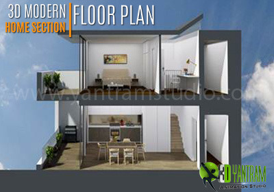 3d House Section Plan