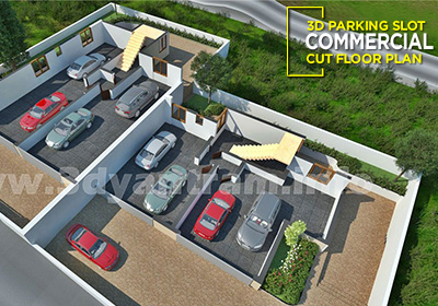 3D Parking Slot Cut Floor Plan Design