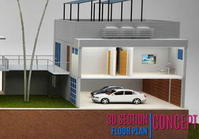 3D Section Virtual Floor Plan
