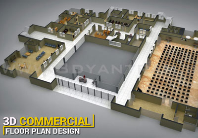 Commercial 3D Floor Plan Visualization