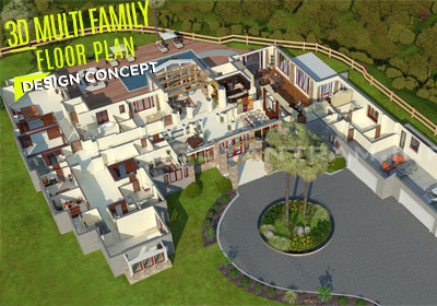 3D Floor Plan Visualization of Hotel and Resort