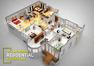 3D Luxurious Residential Virtual Floor Plan