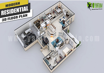 modern residential 3d floor plan design,Joinville,Brazil