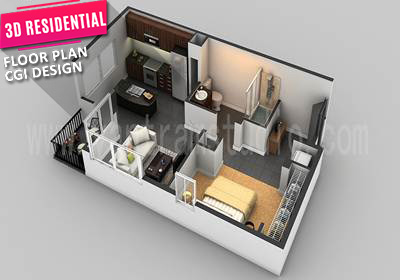 3D Floor Plan CGI Design for Small House