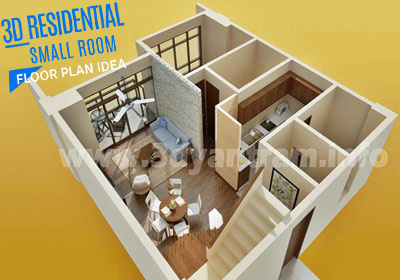 3D Virtual Floor Plan Design for Small Room