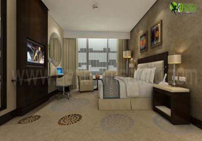 3D Interior Design for Modern Hotel Room London