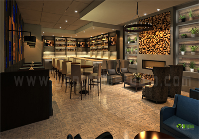 3d bar interior design Night view