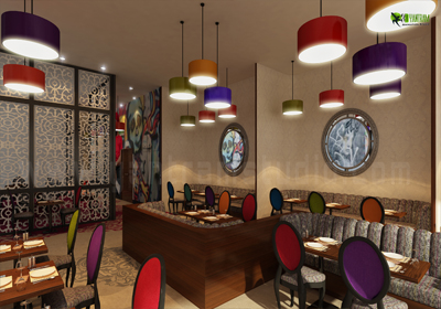 Night view of 3d restaurant interior design