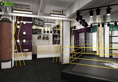 Commercial 3d interior gym rendering design Denver