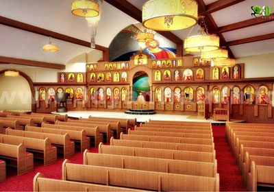 3d auditorium Interior design - church