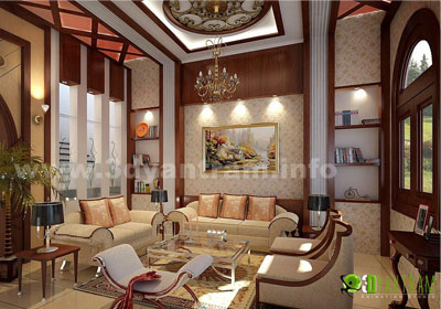 3D Interior of Living Room in Night View