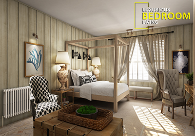 3D Interior CGI of Hotel Room