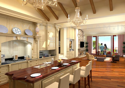 3D Residential Kitchen CGI