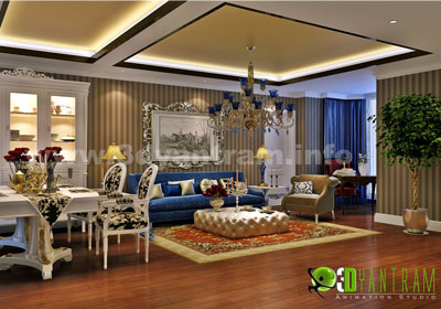 Classic Interior design for residential living room