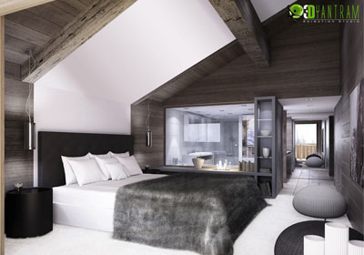 3D Interior Design for Wooden Bedroom
