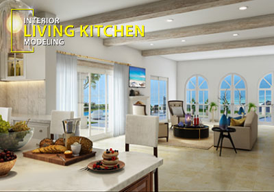 3d Residential Kitchen To Living Room Design