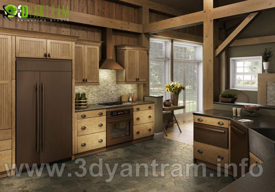 Interior Wooden Kitchen CGI Design