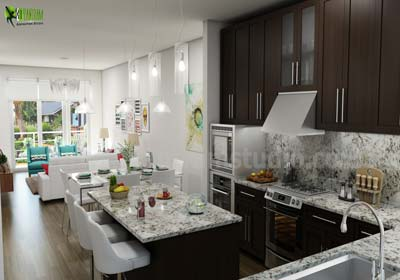 Residential modern kitchen 3d interior rendering designs Tucson